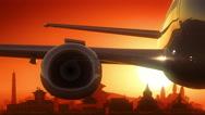 Kathmandu Airplane Take Off Skyline Golden Background Stock Footage