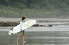 Surfers at Playa Santa Teresa, Puntarenas Province, Costa Rica. Stock Photos
