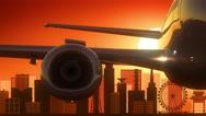 Kobe Japan Airplane Take Off Skyline Golden Background Stock Footage