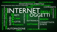 Internet of things word tag cloud - green, Italian variant Stock Footage