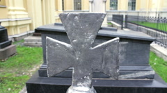 The Stone Cross and The Graves Stock Footage