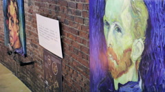 Reproductions of van Gogh on the Wall Stock Footage