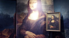Reproductions of Mona Lisa Stock Footage