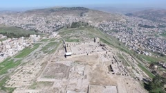 Mount Gerizim - The ruins of the Church (Israel aerial footage) Stock Footage