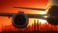 Kuala Lumpur Malaysia Airplane Take Off Skyline Golden Background Stock Footage