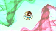 Mexican flag formed with red, green smoke white background - Mexico background Stock Footage