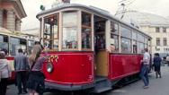 Nostalgic Retro Tram with Tourists Stock Footage