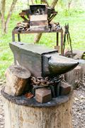 Anvil of country outdoor blacksmith Stock Photos
