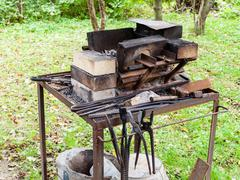 Forge of country outdoor blacksmith Stock Photos