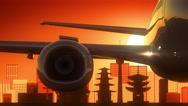 Kyoto Japan Airplane Take Off Skyline Golden Background Stock Footage