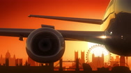 London Airplane Take Off Golden Stock Footage
