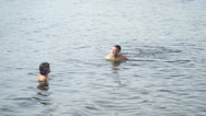 Mother teaching son to swim. Stock Footage