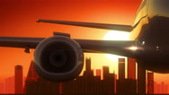 Madrid Spain Airplane Take Off Skyline Golden Background Stock Footage