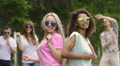 Two girls dancing at open-air dance audition, happiness and youthfulness, party Footage