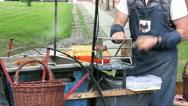 Organic Potatoes Chips on Skewers Prepares on the Street Stock Footage