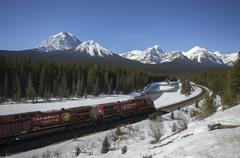 Canadian Pacific freight train on 'Mornant's curve' in the Canadian Rocky Stock Photos