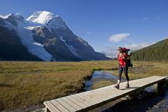 A young lady hikes the Robson trail system with the Berg Glacier and Mount Stock Photos