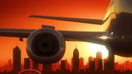 Melbourne Airplane Take Off Skyline Golden Background Stock Footage