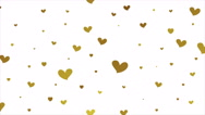 Gold glitter video animation with hearts Stock Footage