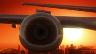Novosibirsk Russia Airplane Take Off Skyline Golden Background Stock Footage