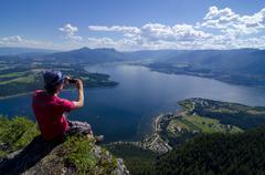 Bastion Mountain Lookout, near Salmon Arm, British Columbia, Canada. MR_001. Stock Photos