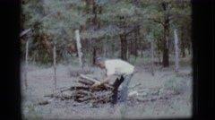 1968: i need more sticks so i can cook and light the place at night Stock Footage