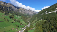 "Aerial view of the valley ""Moutathal"" in Central Switzerland, 4K, UHD Stock Footage"