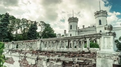 Beautiful White Swan palace in Sharovka, Kharkiv region Stock Footage