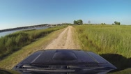 Pickup Truck Off Road lake shore Stock Footage