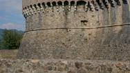 Sarzanella fortress castle ruins in liguria italy Stock Footage