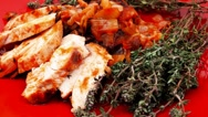 Meat grilled chicken fillet with salad and tomatoes Stock Footage