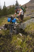 Mountain bike touring near Lorna Lake, Spruce Lake Protected Area, South Stock Photos