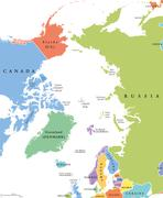 Arctic region single states and North Pole political map Stock Illustration