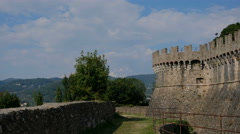 Sarzanella fortress castle ruins in liguria italy Stock Footage