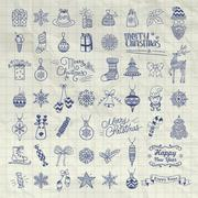Set of Hand Drawn Artistic Christmas Doodle Icons Stock Illustration