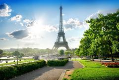 Eiffel tower and park Stock Photos