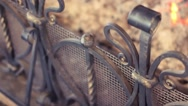 Forged grating fireplace in a country house Stock Footage
