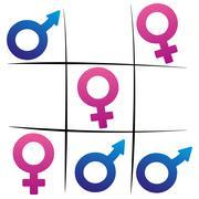 Gender Fight Winning Woman Tic Tac Toe Stock Illustration