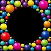 Colorful Balls Background Frame Black Stock Illustration