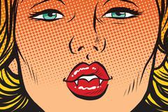 Vampire girl lip kiss Stock Illustration