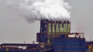 Polluted factory plants with smoking towers and pipes - 4K Stock Footage