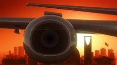 Riyadh Airplane Take Off Skyline Golden Background Stock Footage