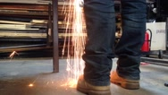Sparks from a Grinder at a Workshop Stock Footage