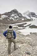 Hiker at Columbia Icefields, Jasper National Park, ALberta, Canada Stock Photos