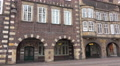 4k Historic city buildings in Bremen panning with archway passage 4k or 4k+ Resolution