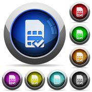 SIM card accepted button set Stock Illustration