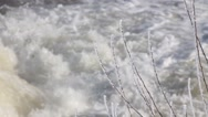 Raging stream water winter Stock Footage