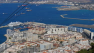 The Gibraltar cable car ascending past the city Stock Footage