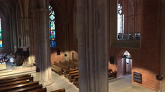 4k Church indoor panning high angle shot in Bremen city Stock Footage