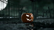 Halloween pumpkin in a spooky graveyard. Hallowenn concept. realistic animation Stock Footage